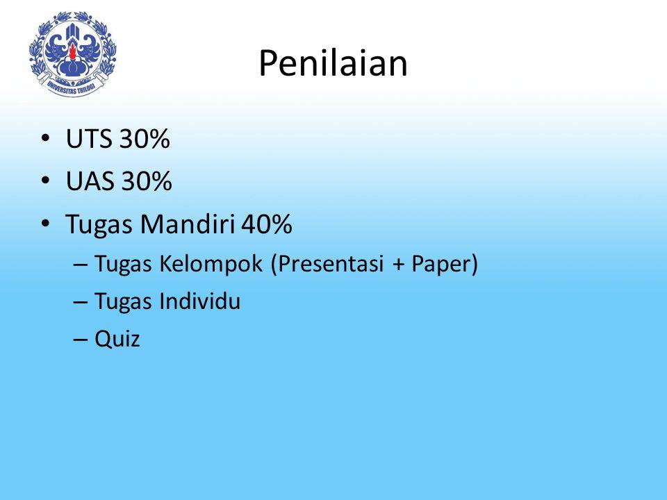 Penilaian UTS 30% UAS 30% Tugas Mandiri 40% – Tugas Kelompok (Presentasi + Paper) – Tugas Individu – Quiz