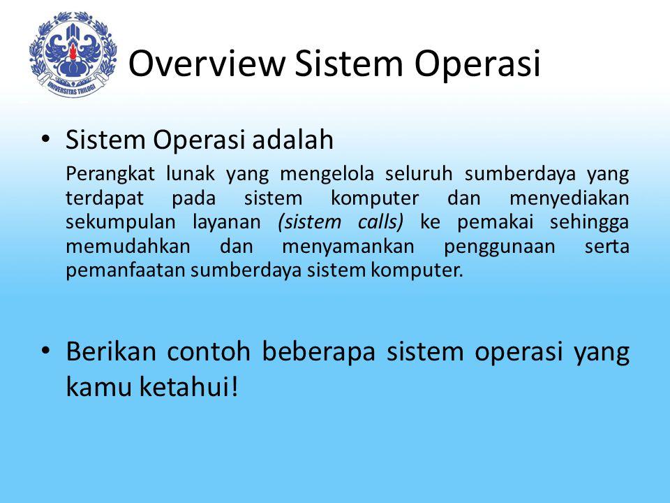 Overview Sistem Operasi Sistem Operasi adalah Perangkat lunak yang mengelola seluruh sumberdaya yang terdapat pada sistem komputer dan menyediakan sek