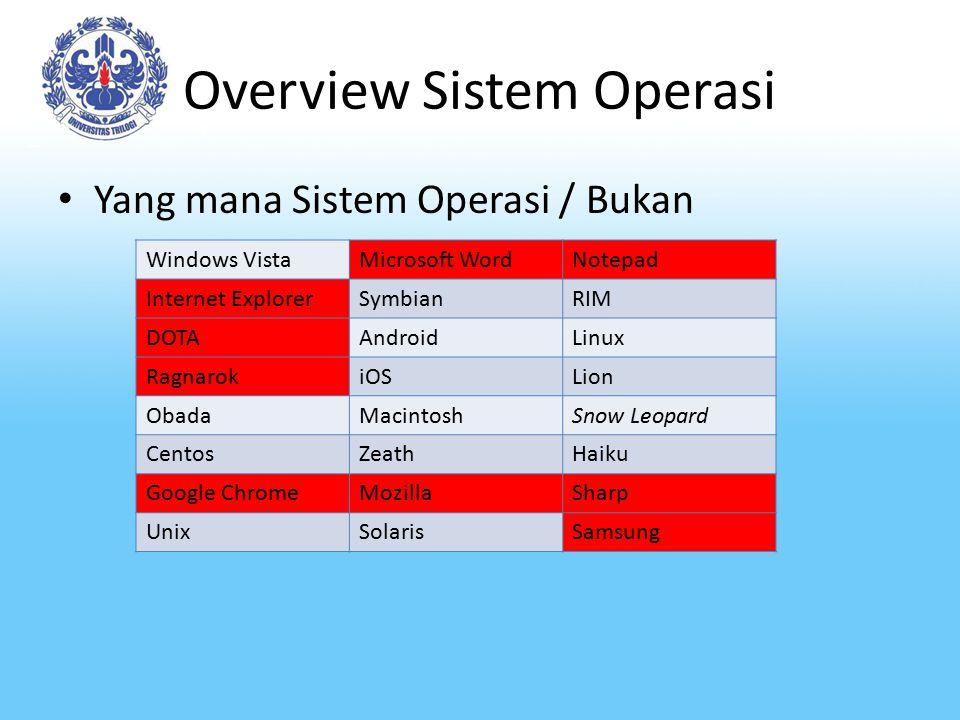 Overview Sistem Operasi Yang mana Sistem Operasi / Bukan Windows VistaMicrosoft WordNotepad Internet ExplorerSymbianRIM DOTAAndroidLinux RagnarokiOSLi
