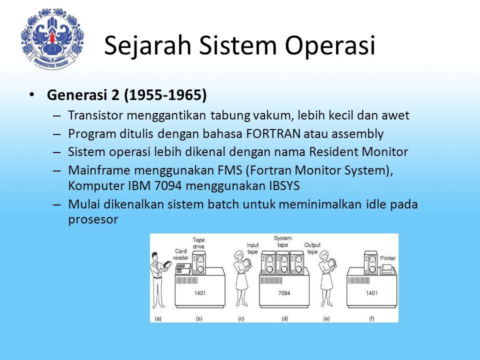 Sejarah Sistem Operasi Generasi 2 (1955-1965) – Transistor menggantikan tabung vakum, lebih kecil dan awet – Program ditulis dengan bahasa FORTRAN ata