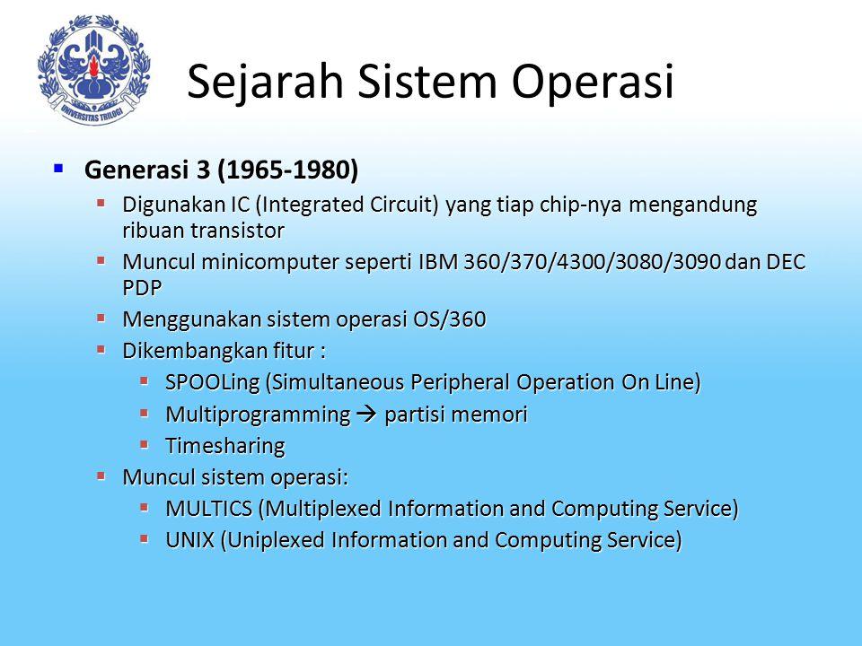 Sejarah Sistem Operasi  Generasi 3 (1965-1980)  Digunakan IC (Integrated Circuit) yang tiap chip-nya mengandung ribuan transistor  Muncul minicompu