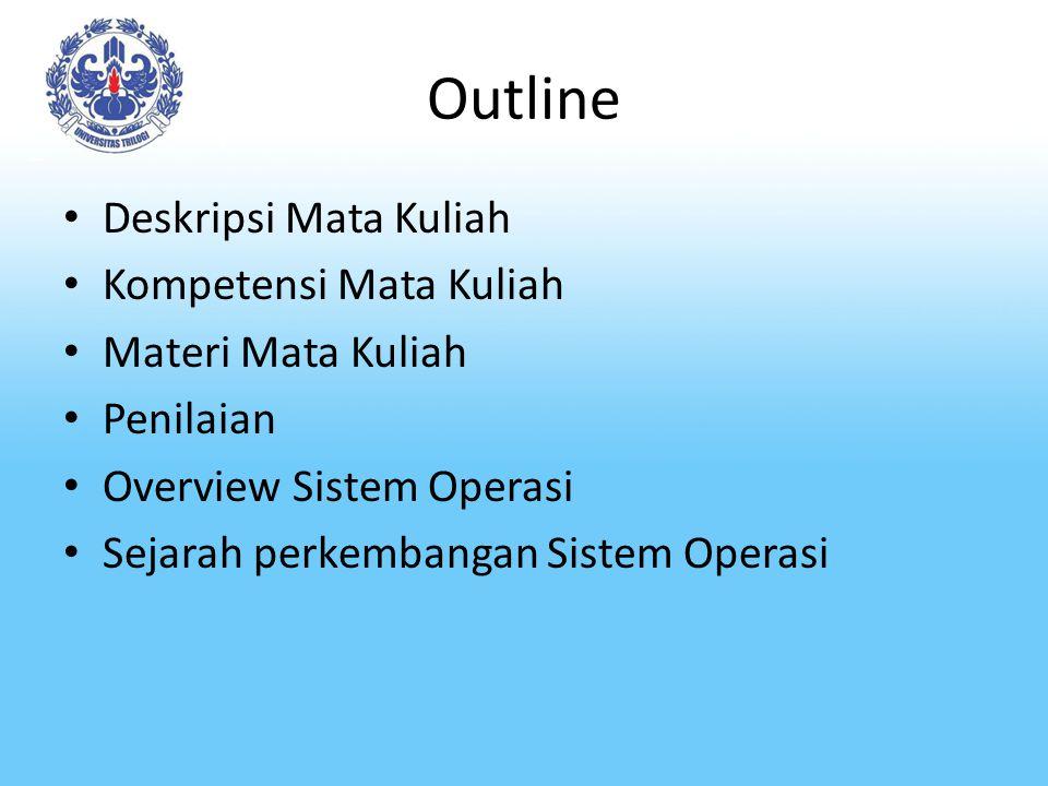Outline Deskripsi Mata Kuliah Kompetensi Mata Kuliah Materi Mata Kuliah Penilaian Overview Sistem Operasi Sejarah perkembangan Sistem Operasi