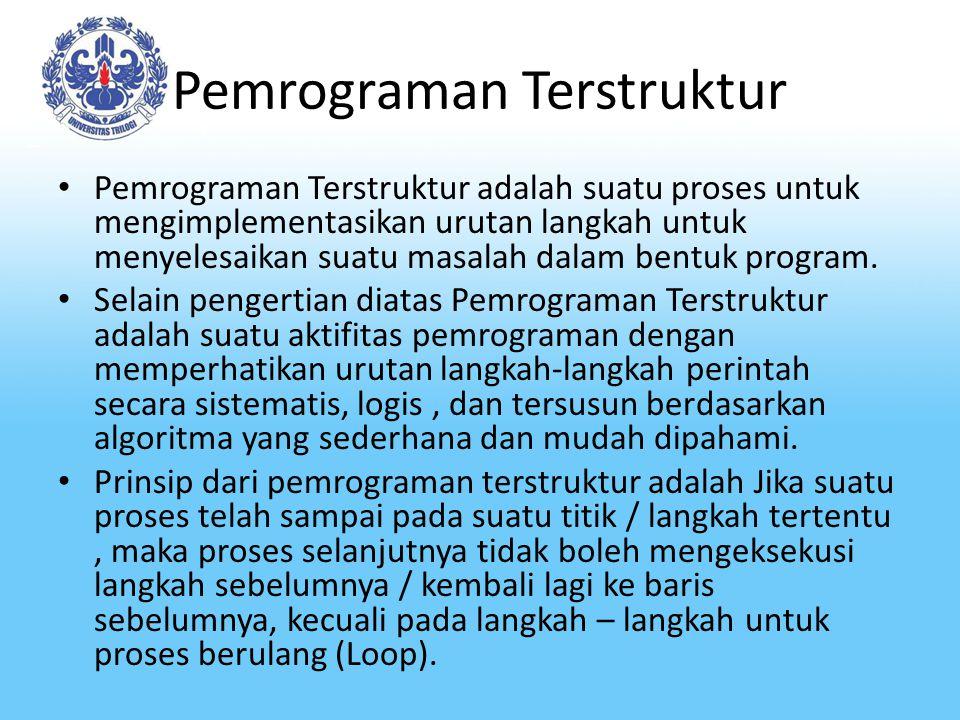 Pemrograman Terstruktur Pemrograman Terstruktur adalah suatu proses untuk mengimplementasikan urutan langkah untuk menyelesaikan suatu masalah dalam bentuk program.