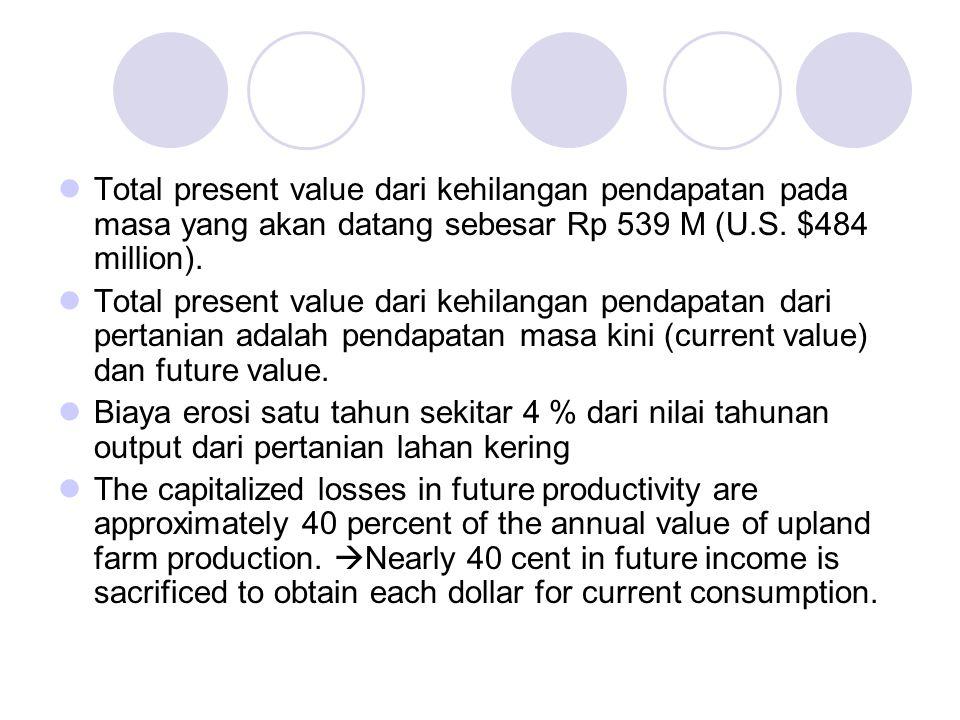 Total present value dari kehilangan pendapatan pada masa yang akan datang sebesar Rp 539 M (U.S. $484 million). Total present value dari kehilangan pe
