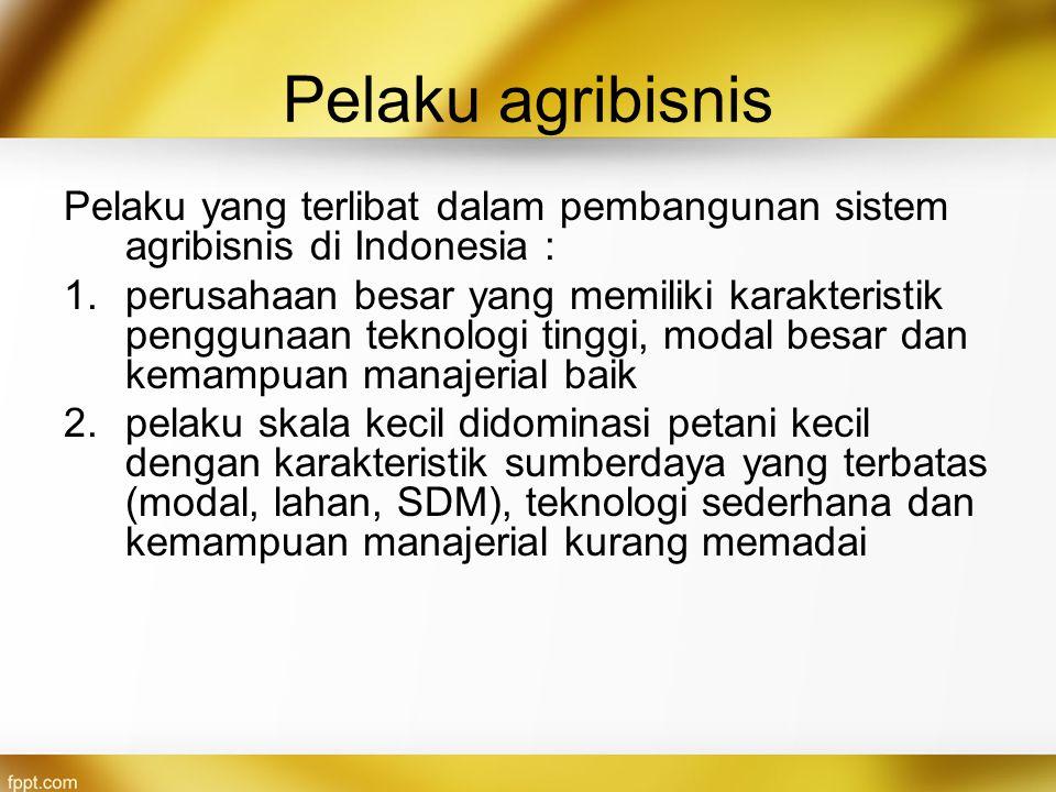 Pelaku agribisnis Pelaku yang terlibat dalam pembangunan sistem agribisnis di Indonesia : 1.perusahaan besar yang memiliki karakteristik penggunaan te