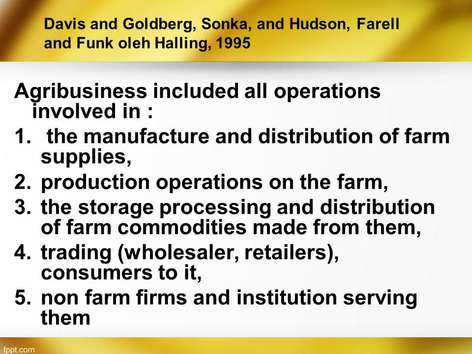 Lingkup agribisnis menyangkut kegiatan seluruh perusahaan dan lembaga di luar usahatani yang melayani pertanian.
