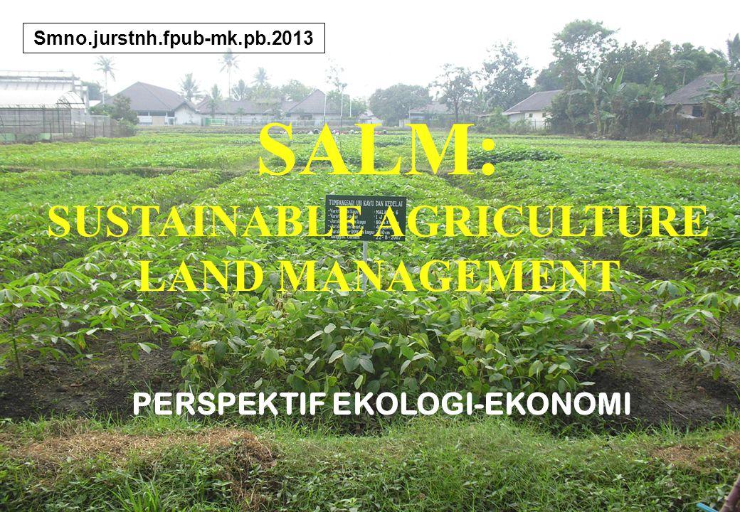 1 SALM: SUSTAINABLE AGRICULTURE LAND MANAGEMENT Smno.jurstnh.fpub-mk.pb.2013 PERSPEKTIF EKOLOGI-EKONOMI
