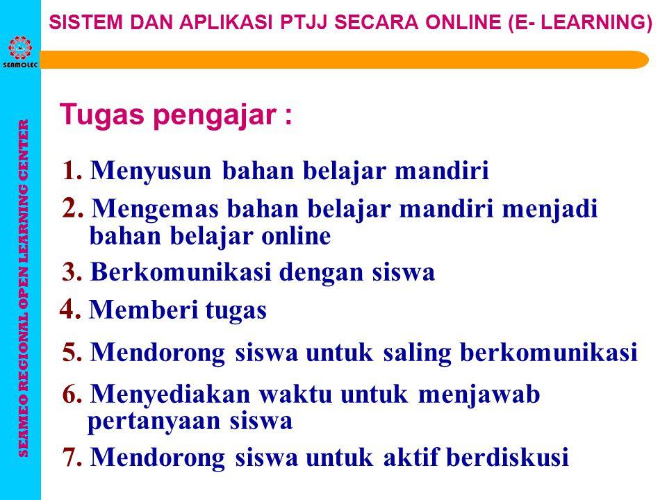 SEAMEO REGIONAL OPEN LEARNING CENTER SISTEM DAN APLIKASI PTJJ SECARA ONLINE (E- LEARNING) Mempunyai beberapa sub-system: Aspek administrasi Merancang