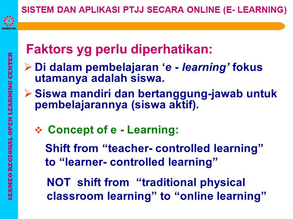 SEAMEO REGIONAL OPEN LEARNING CENTER SISTEM DAN APLIKASI PTJJ SECARA ONLINE (E- LEARNING) Tugas pengajar : 4. Memberi tugas 1. Menyusun bahan belajar