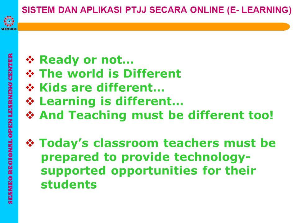 SEAMEO REGIONAL OPEN LEARNING CENTER SISTEM DAN APLIKASI PTJJ SECARA ONLINE (E- LEARNING) Sistem Pendidikan Jarak Jauh merupakan suatu alternatif peme