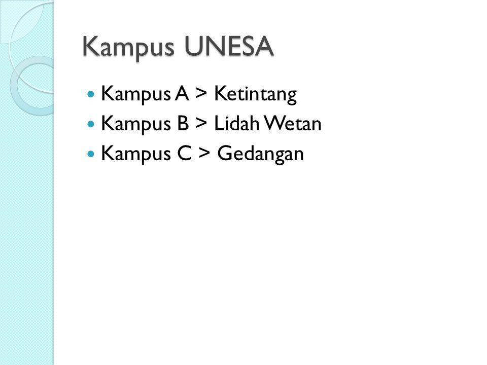 Kampus UNESA Kampus A > Ketintang Kampus B > Lidah Wetan Kampus C > Gedangan