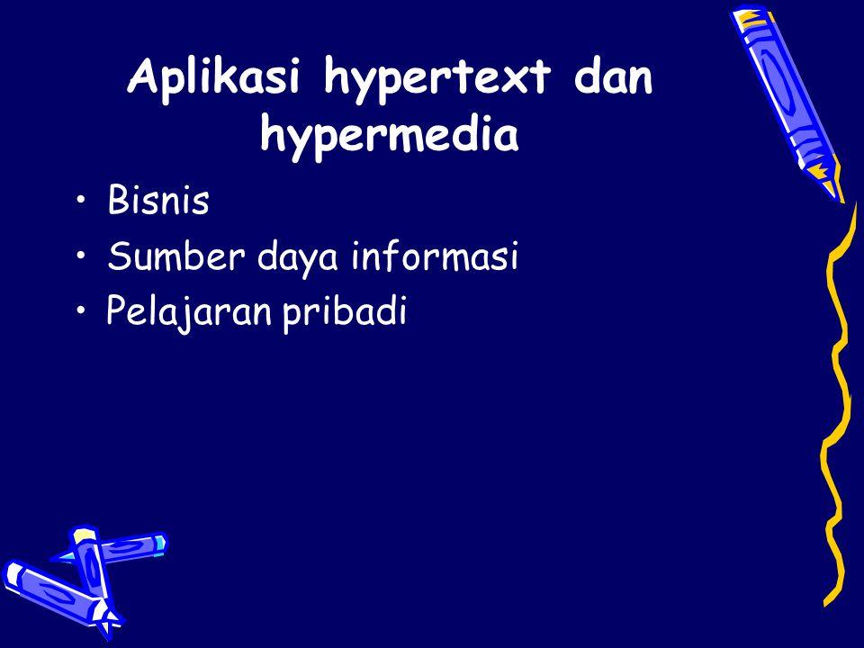 Kelengkapan Antarmuka Pemakai Hypertext Isi –Simpul atau Node (teks, gambar, video, suara) –Link –Format, margin, font, spacing –Resolusi layar, ukuran, warna –Ukuran dan manajemen window
