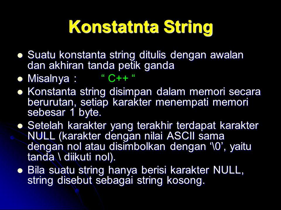 Menyalin String Untuk menyalin string tidak bisa dengan perintah : Untuk menyalin string tidak bisa dengan perintah : teks1 = teks2; Untuk menyalin perhatikan contoh berikut :