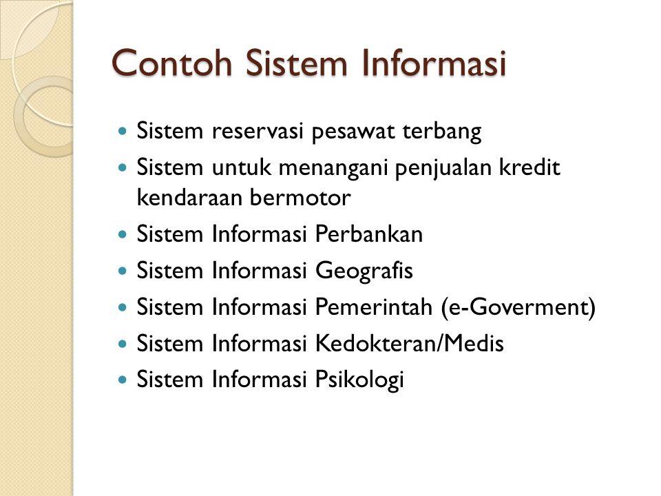 Contoh Sistem Informasi Sistem reservasi pesawat terbang Sistem untuk menangani penjualan kredit kendaraan bermotor Sistem Informasi Perbankan Sistem