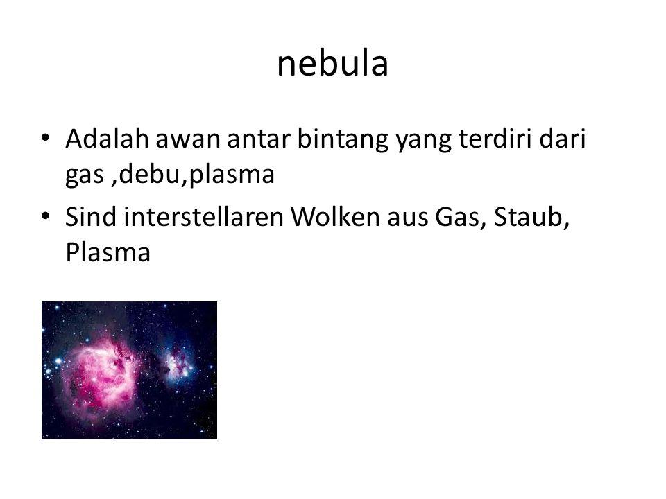 nebula Adalah awan antar bintang yang terdiri dari gas,debu,plasma Sind interstellaren Wolken aus Gas, Staub, Plasma