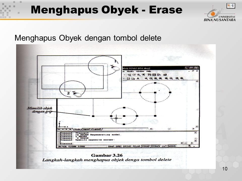 10 Menghapus Obyek - Erase Menghapus Obyek dengan tombol delete