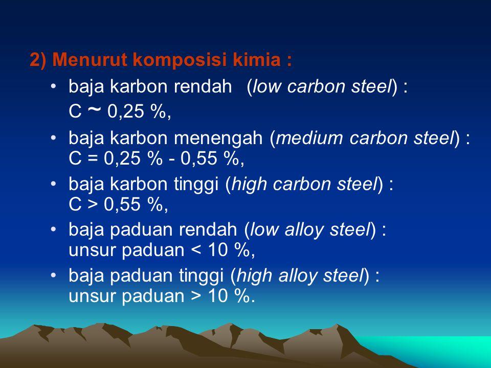 3) Menurut mikrostrukturnya : baja hipoeutektoid : ferit dan perlit, baja eutektoid : perlit, baja hipereutektoid : sementit dan perlit, baja bainit, baja martensit.