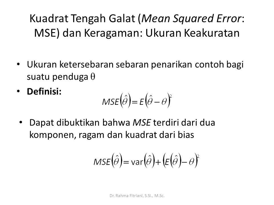 Kuadrat Tengah Galat (Mean Squared Error: MSE) dan Keragaman: Ukuran Keakuratan Ukuran ketersebaran sebaran penarikan contoh bagi suatu penduga θ Defi