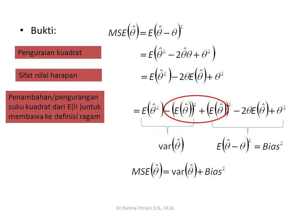Bukti: Dr. Rahma Fitriani, S.Si., M.Sc. Penguraian kuadrat Sifat nilai harapan Penambahan/pengurangan suku kuadrat dari E( θ )untuk membawa ke definis