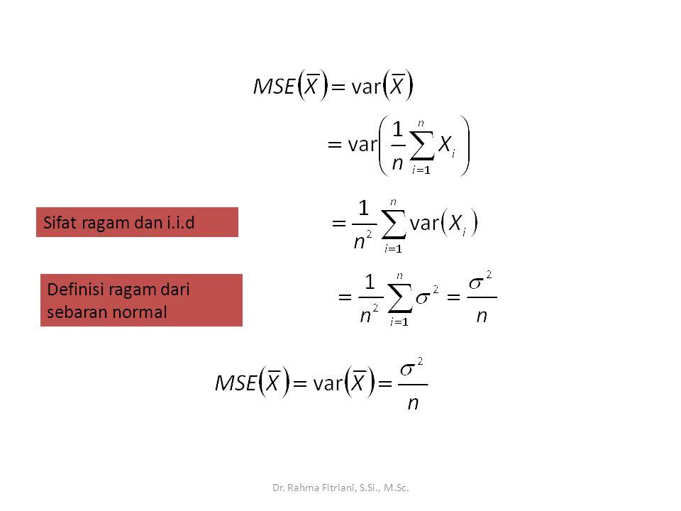 Dr. Rahma Fitriani, S.Si., M.Sc. Sifat ragam dan i.i.d Definisi ragam dari sebaran normal