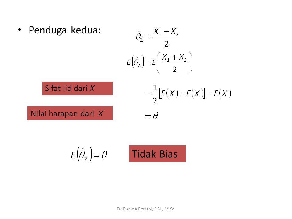 Kuadrat Tengah Galat (Mean Squared Error: MSE) dan Keragaman: Ukuran Keakuratan Ukuran ketersebaran sebaran penarikan contoh bagi suatu penduga θ Definisi: Dr.