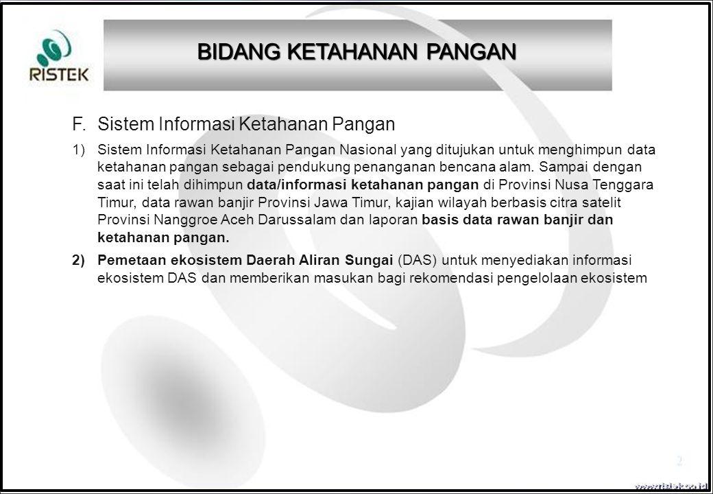 F. Sistem Informasi Ketahanan Pangan 1)Sistem Informasi Ketahanan Pangan Nasional yang ditujukan untuk menghimpun data ketahanan pangan sebagai penduk