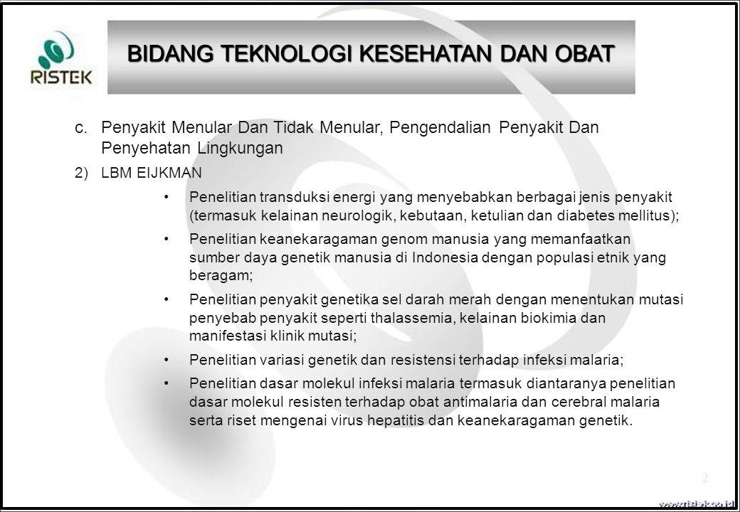c. Penyakit Menular Dan Tidak Menular, Pengendalian Penyakit Dan Penyehatan Lingkungan 2)LBM EIJKMAN Penelitian transduksi energi yang menyebabkan ber