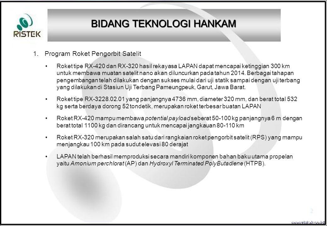 1.Program Roket Pengorbit Satelit Roket tipe RX-420 dan RX-320 hasil rekayasa LAPAN dapat mencapai ketinggian 300 km untuk membawa muatan satelit nano