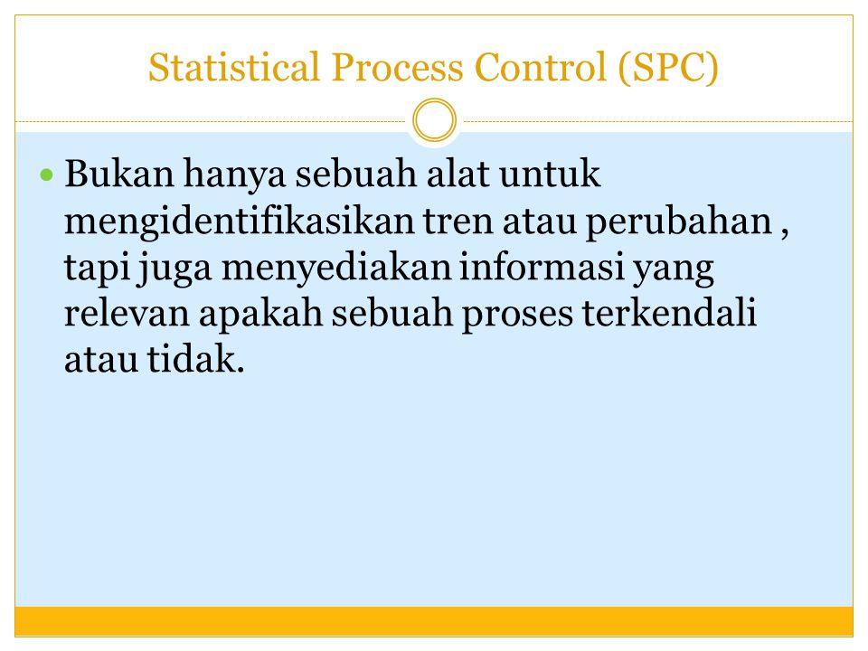 Statistical Process Control (SPC) Bukan hanya sebuah alat untuk mengidentifikasikan tren atau perubahan, tapi juga menyediakan informasi yang relevan apakah sebuah proses terkendali atau tidak.