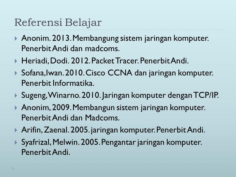Referensi Belajar  Anonim. 2013. Membangung sistem jaringan komputer. Penerbit Andi dan madcoms.  Heriadi, Dodi. 2012. Packet Tracer. Penerbit Andi.