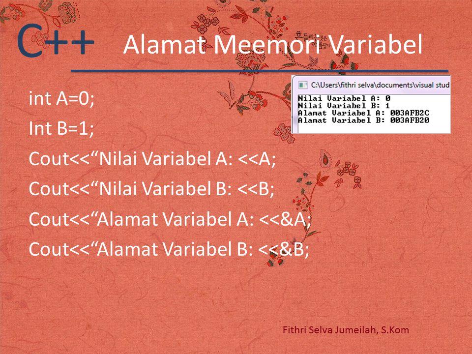 "C++ Alamat Meemori Variabel int A=0; Int B=1; Cout<<""Nilai Variabel A: <<A; Cout<<""Nilai Variabel B: <<B; Cout<<""Alamat Variabel A: <<&A; Cout<<""Alama"
