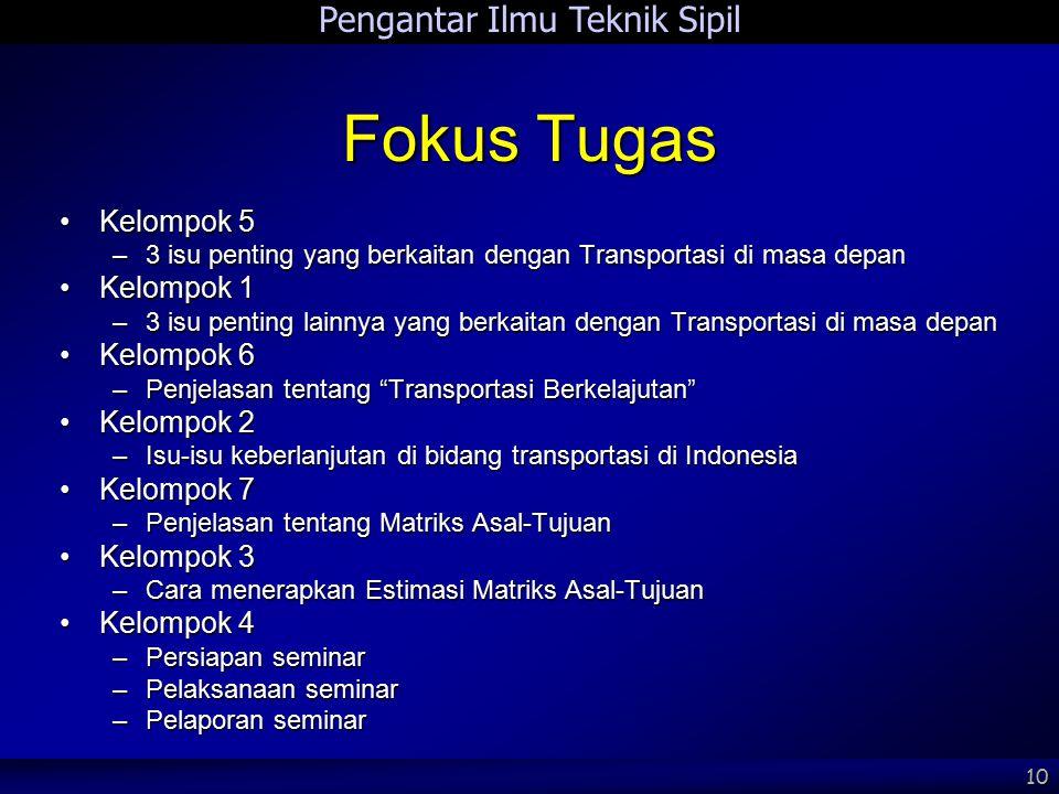 Pengantar Ilmu Teknik Sipil 10 Fokus Tugas Kelompok 5Kelompok 5 –3 isu penting yang berkaitan dengan Transportasi di masa depan Kelompok 1Kelompok 1 –