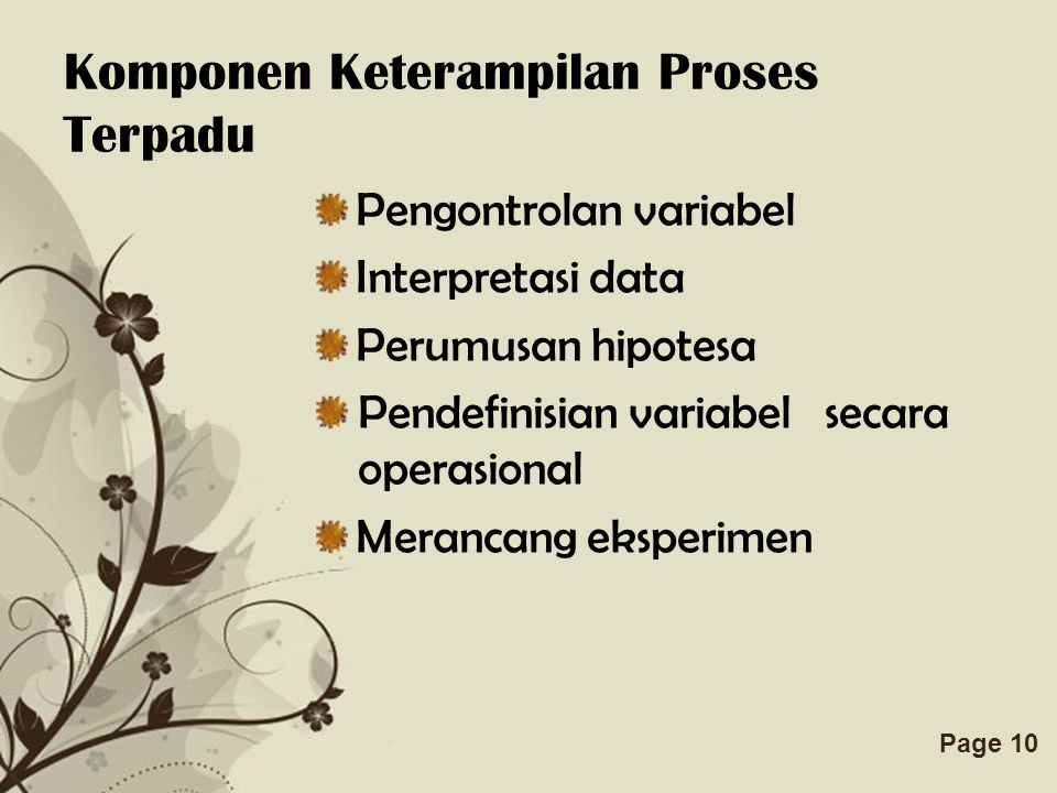 Free Powerpoint TemplatesPage 10 Komponen Keterampilan Proses Terpadu Pengontrolan variabel Interpretasi data Perumusan hipotesa Pendefinisian variabel secara operasional Merancang eksperimen