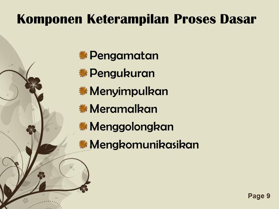 Free Powerpoint TemplatesPage 9 Komponen Keterampilan Proses Dasar Pengamatan Pengukuran Menyimpulkan Meramalkan Menggolongkan Mengkomunikasikan