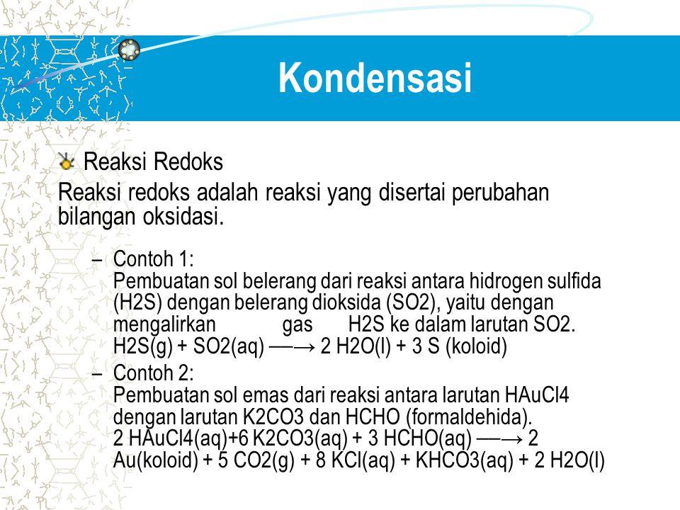Kondensasi Reaksi Redoks Reaksi redoks adalah reaksi yang disertai perubahan bilangan oksidasi. –Contoh 1: Pembuatan sol belerang dari reaksi antara h