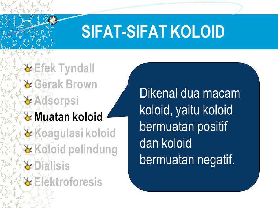 SIFAT-SIFAT KOLOID Efek Tyndall Gerak Brown Adsorpsi Muatan koloid Koagulasi koloid Koloid pelindung Dialisis Elektroforesis Dikenal dua macam koloid,