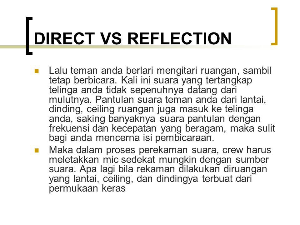 DIRECT VS REFLECTION Lalu teman anda berlari mengitari ruangan, sambil tetap berbicara. Kali ini suara yang tertangkap telinga anda tidak sepenuhnya d