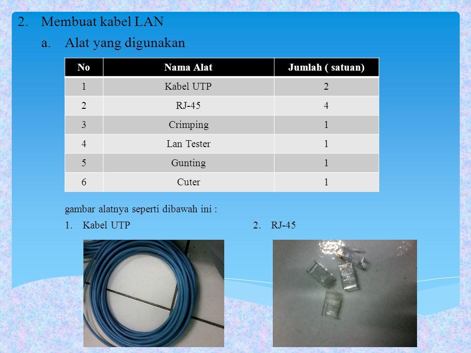 2.Membuat kabel LAN a.Alat yang digunakan gambar alatnya seperti dibawah ini : 1. Kabel UTP2. RJ-45 NoNama AlatJumlah ( satuan) 1Kabel UTP2 2RJ-454 3C