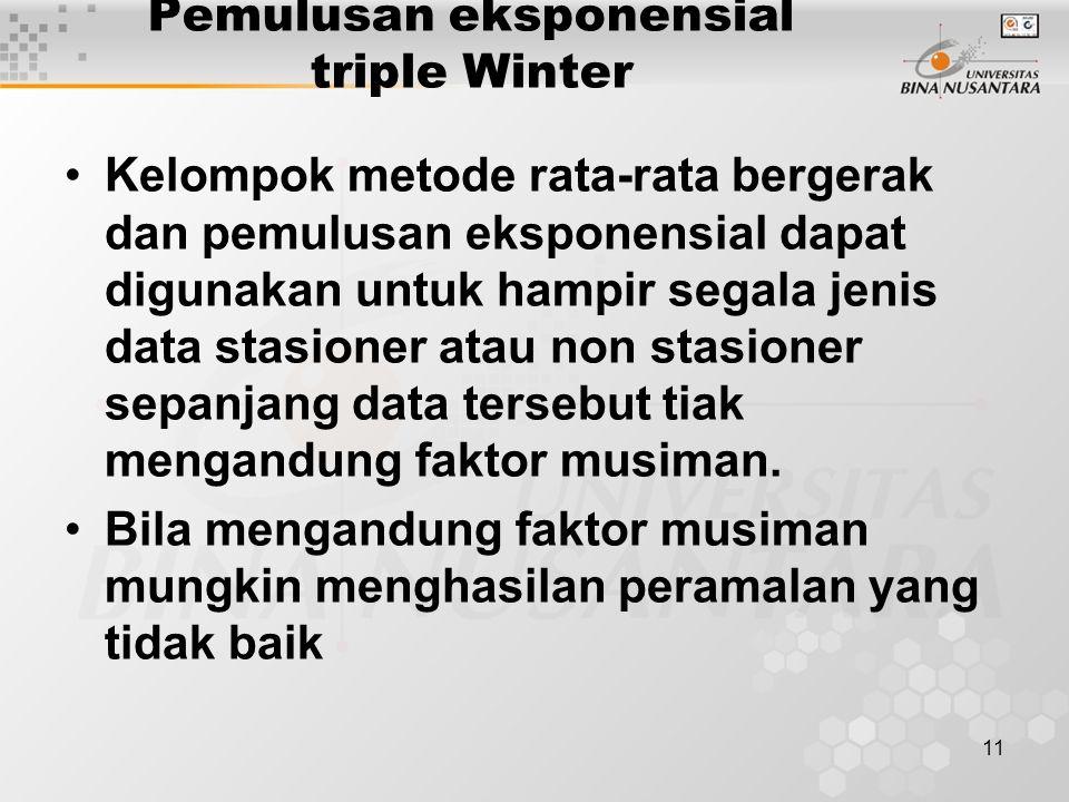11 Pemulusan eksponensial triple Winter Kelompok metode rata-rata bergerak dan pemulusan eksponensial dapat digunakan untuk hampir segala jenis data s