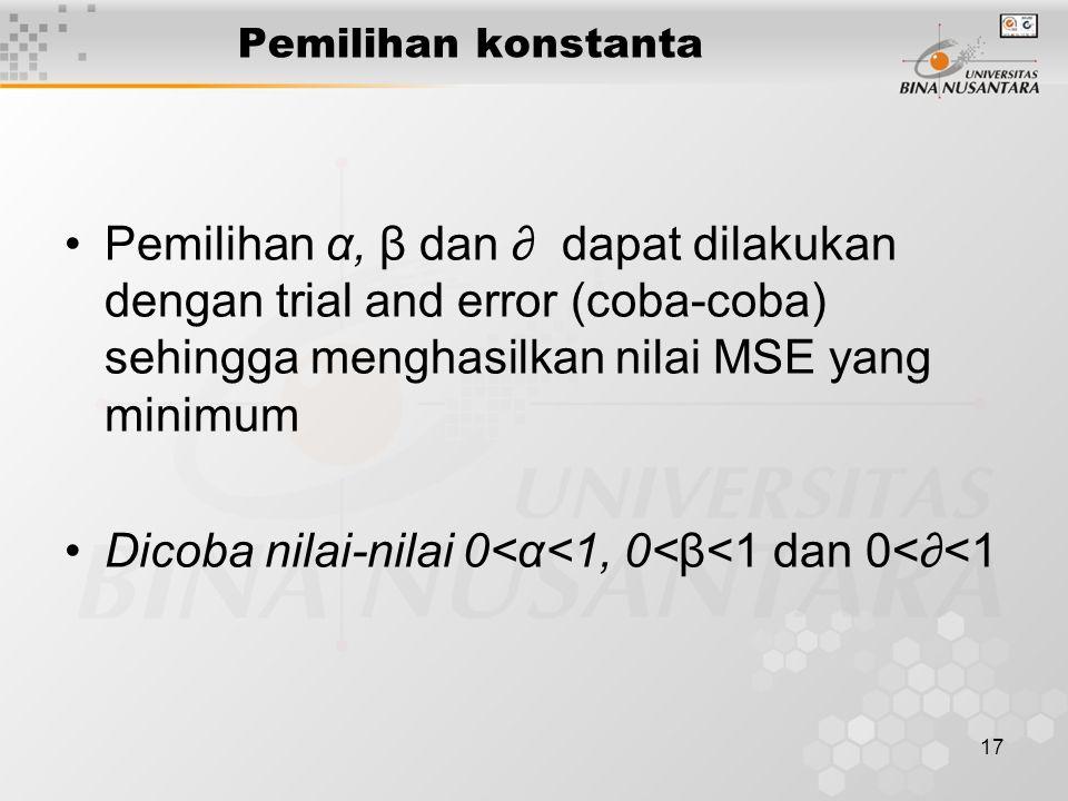 17 Pemilihan konstanta Pemilihan α, β dan ∂ dapat dilakukan dengan trial and error (coba-coba) sehingga menghasilkan nilai MSE yang minimum Dicoba nil