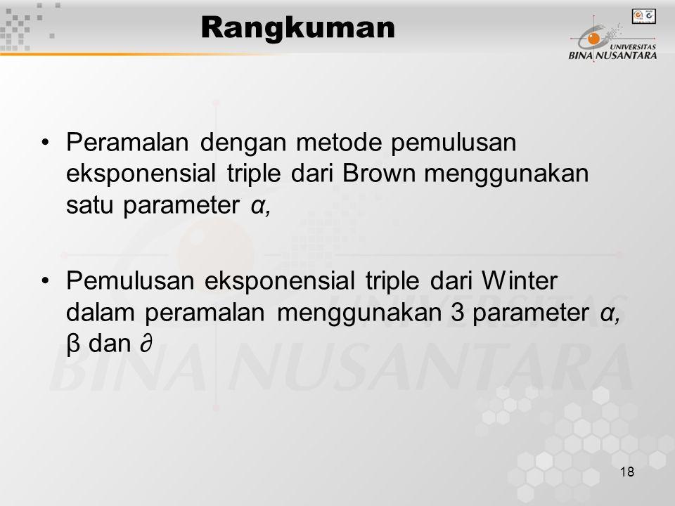 18 Rangkuman Peramalan dengan metode pemulusan eksponensial triple dari Brown menggunakan satu parameter α, Pemulusan eksponensial triple dari Winter