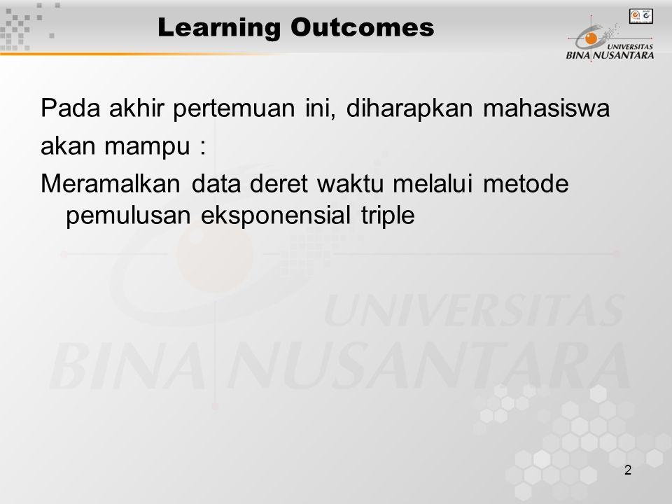 2 Learning Outcomes Pada akhir pertemuan ini, diharapkan mahasiswa akan mampu : Meramalkan data deret waktu melalui metode pemulusan eksponensial trip