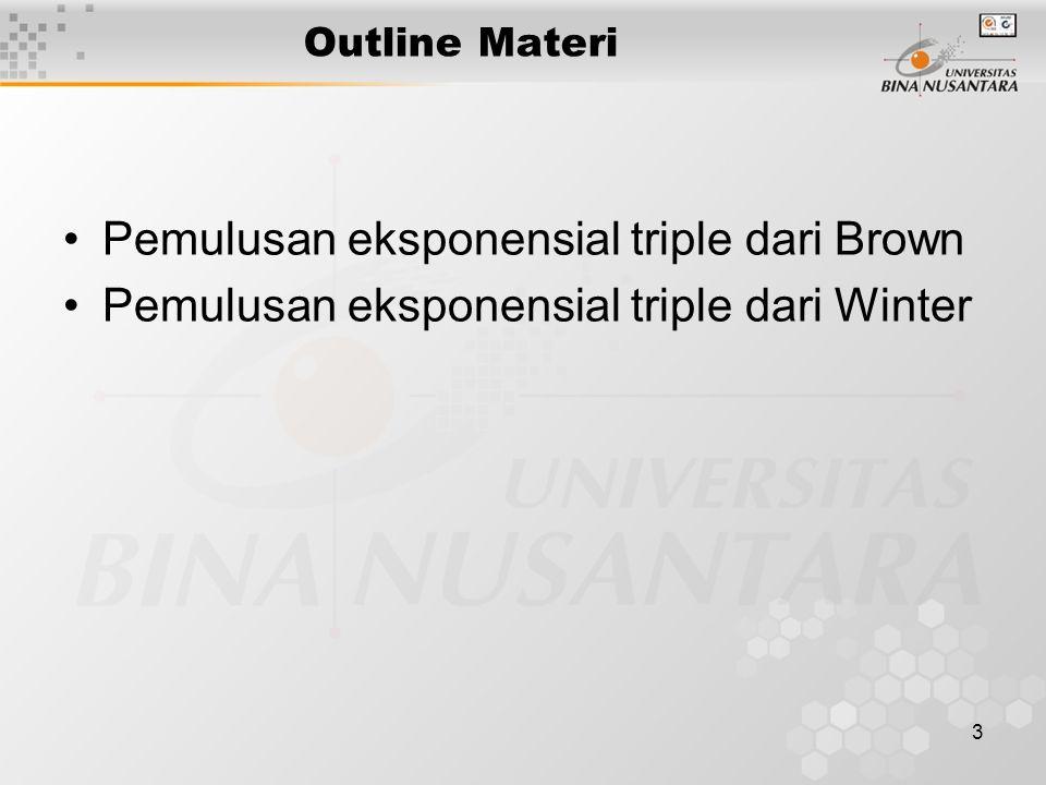 3 Outline Materi Pemulusan eksponensial triple dari Brown Pemulusan eksponensial triple dari Winter