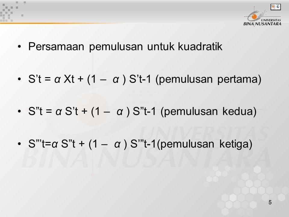 """5 Persamaan pemulusan untuk kuadratik S't = α Xt + (1 – α ) S't-1 (pemulusan pertama) S""""t = α S't + (1 – α ) S""""t-1 (pemulusan kedua) S""""'t=α S""""t + (1 –"""