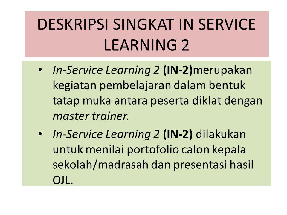 DESKRIPSI SINGKAT IN SERVICE LEARNING 2 In-Service Learning 2 (IN-2)merupakan kegiatan pembelajaran dalam bentuk tatap muka antara peserta diklat deng