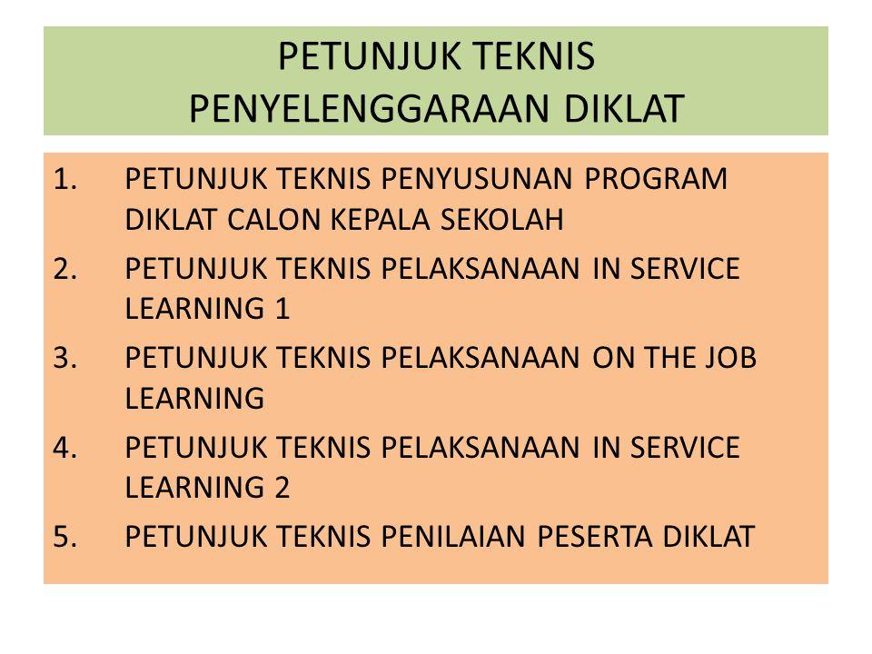 PETUNJUK TEKNIS PENYELENGGARAAN DIKLAT 1.PETUNJUK TEKNIS PENYUSUNAN PROGRAM DIKLAT CALON KEPALA SEKOLAH 2.PETUNJUK TEKNIS PELAKSANAAN IN SERVICE LEARN