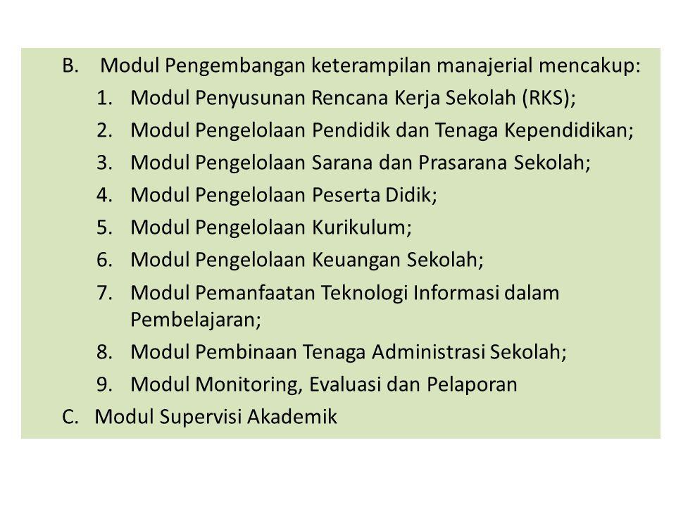 B.Modul Pengembangan keterampilan manajerial mencakup: 1.Modul Penyusunan Rencana Kerja Sekolah (RKS); 2.Modul Pengelolaan Pendidik dan Tenaga Kependi
