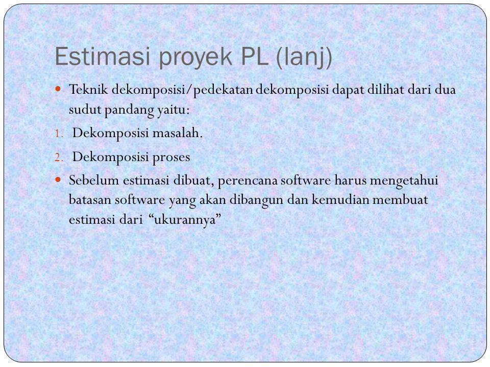 Estimasi proyek PL (lanj) Teknik dekomposisi/pedekatan dekomposisi dapat dilihat dari dua sudut pandang yaitu: 1. Dekomposisi masalah. 2. Dekomposisi