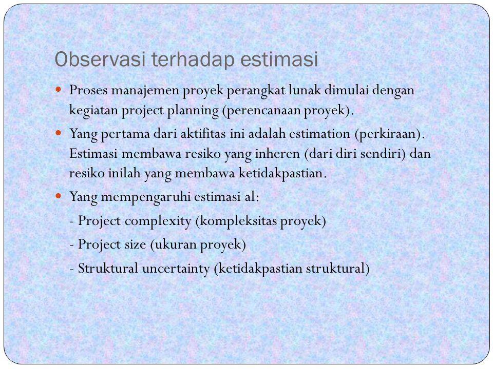 Estimasi proyek PL (lanj) Teknik dekomposisi/pedekatan dekomposisi dapat dilihat dari dua sudut pandang yaitu: 1.