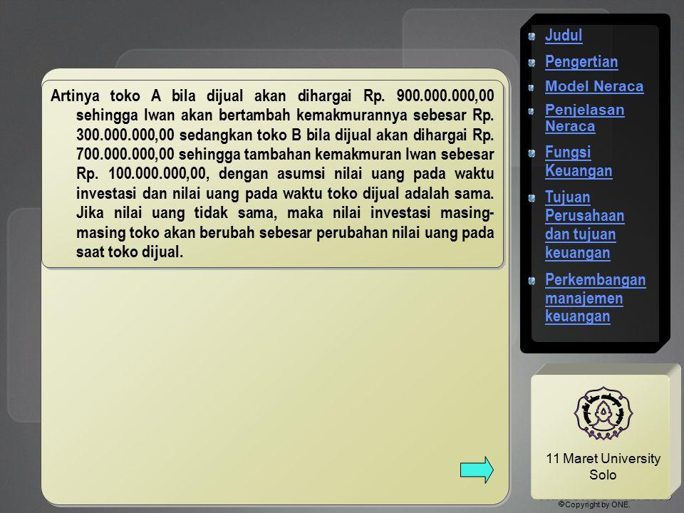 11 Maret University Solo Artinya toko A bila dijual akan dihargai Rp. 900.000.000,00 sehingga Iwan akan bertambah kemakmurannya sebesar Rp. 300.000.00